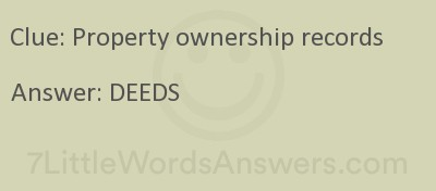 Property Ownership Records 7 Little Words 7littlewordsanswers Com